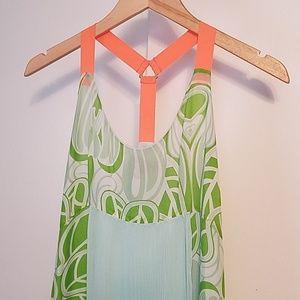 Charlotte Tarantola Peace Sign Silk Maxi Dress L